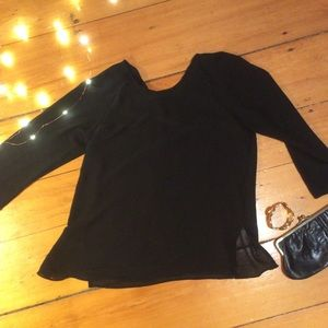 Simple chiffon black blouse